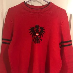 Sigi Scheiber Austria Pure Wool Cable Sweater(Red)